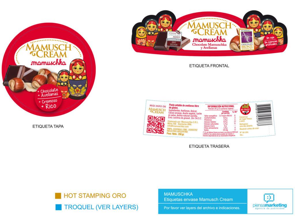 Etiqueta Packaging Mamuschka Piensamarketing Diseño publicidad Mamusch Cream
